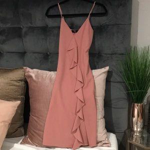MISSGUIDED pink v neck ruffled front slit dress